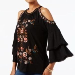 INC Ana Sui Embroidered Night Rider Blouse Sz LG